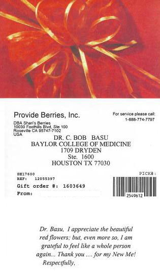Card from Dr. Basu's patient